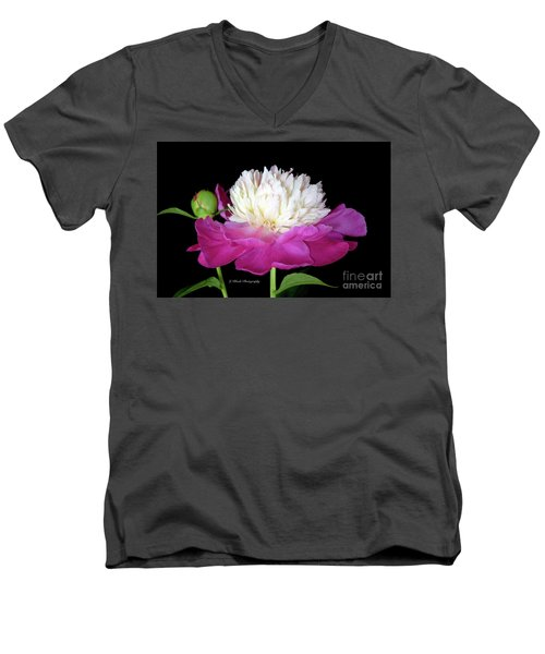 Beautiful Fancy Peony Men's V-Neck T-Shirt by Jeannie Rhode