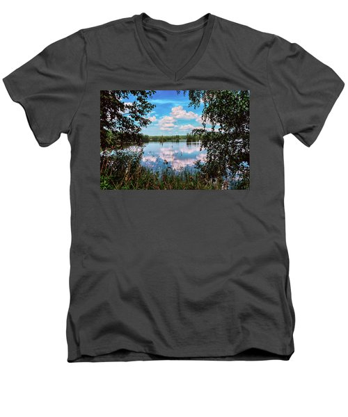 beautiful forest lake in Sunny summer day Men's V-Neck T-Shirt