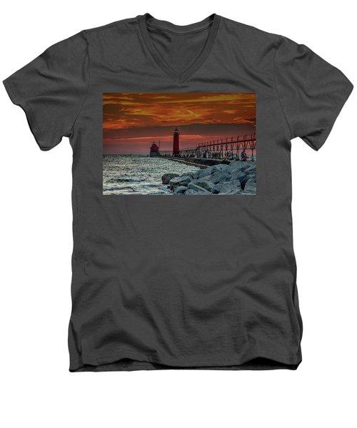 Sunset At Grand Haven Pier Men's V-Neck T-Shirt