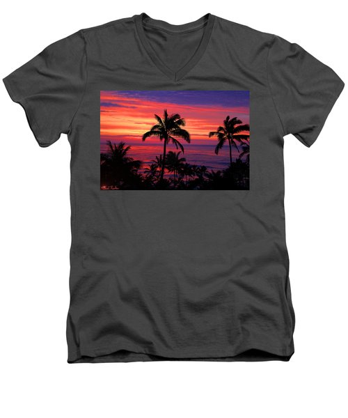 Beautiful Hawaiian Sunset Men's V-Neck T-Shirt by Michael Rucker