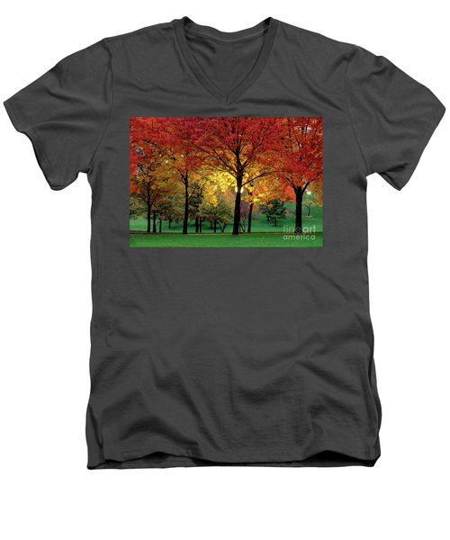 Beautiful Light At The Park In St. Louis In Autumn Men's V-Neck T-Shirt by Wernher Krutein