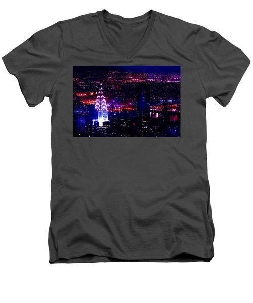 Beautiful Manhattan Skyline Men's V-Neck T-Shirt by Az Jackson