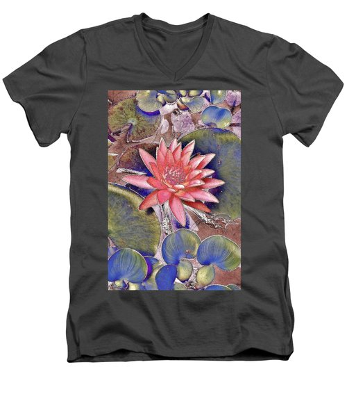 Beautiful Pink Lotus Abstract Men's V-Neck T-Shirt