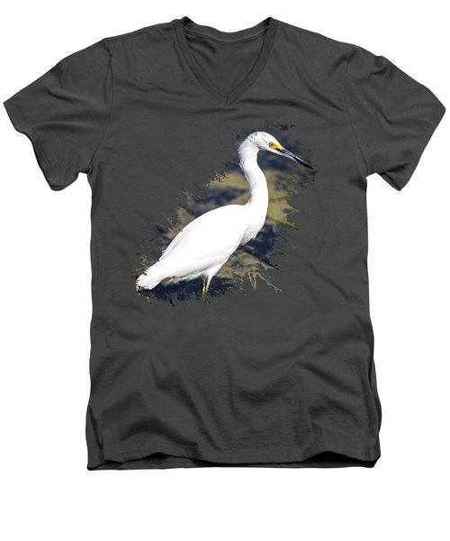 Beautiful Snowy Egret Men's V-Neck T-Shirt