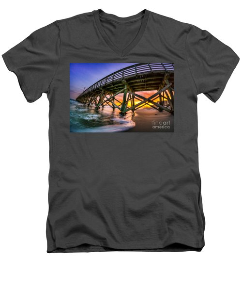 Beautiful Sunset In Myrtle Beach Men's V-Neck T-Shirt by David Smith