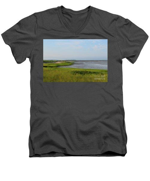Beautiful Views Of Powder Point Bridge And Duxbury Bay Men's V-Neck T-Shirt