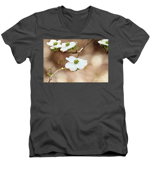 Beautiful White Flowering Dogwood Blossoms Men's V-Neck T-Shirt by Stephanie Frey