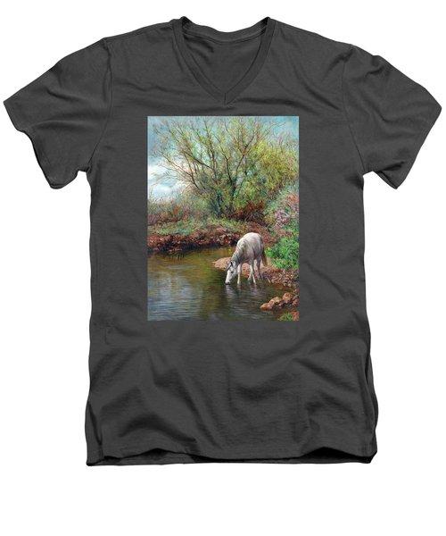 Beautiful White Horse And Enchanting Spring Men's V-Neck T-Shirt by Svitozar Nenyuk