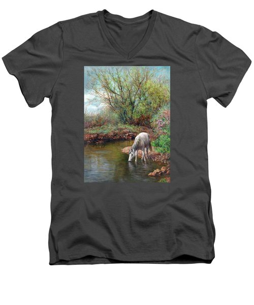 Beautiful White Horse And Enchanting Spring Men's V-Neck T-Shirt