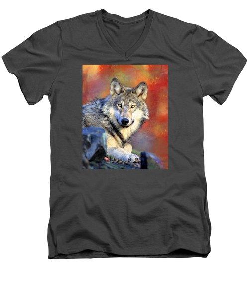 Beautiful Wolf Art Men's V-Neck T-Shirt