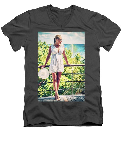 Beautiful Woman In The Beach House Men's V-Neck T-Shirt
