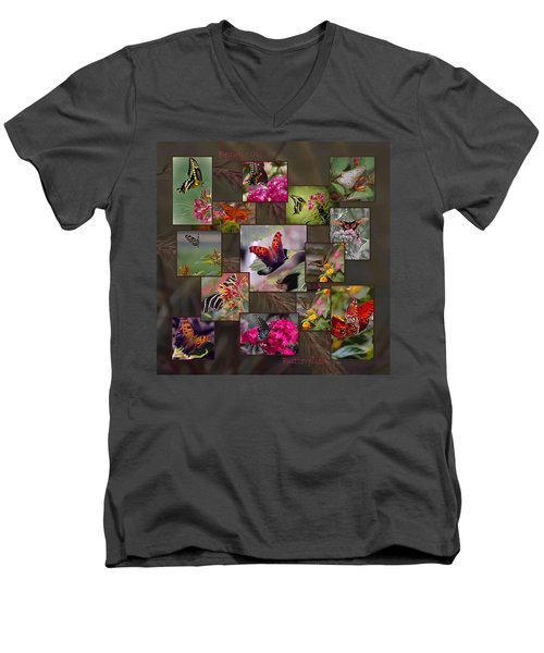 Beauty In Butterflies Men's V-Neck T-Shirt by DigiArt Diaries by Vicky B Fuller