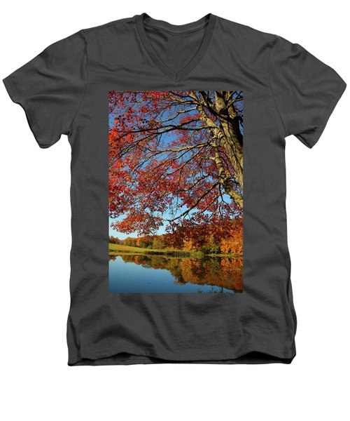 Men's V-Neck T-Shirt featuring the photograph Beauty Of Fall by Karol Livote