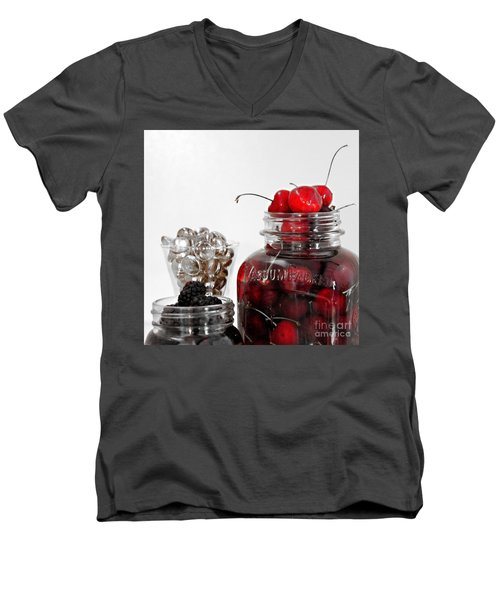 Beauty Of Red Cherries Men's V-Neck T-Shirt