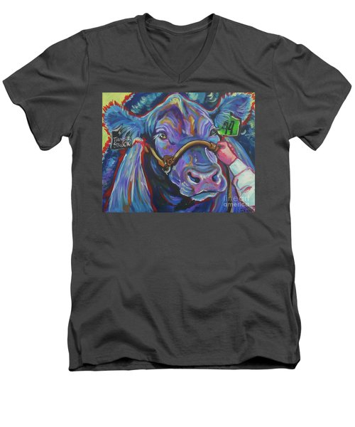 Men's V-Neck T-Shirt featuring the painting Beauty Queen by Jenn Cunningham