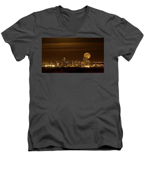 Beaver Moonrise Men's V-Neck T-Shirt by Kristal Kraft