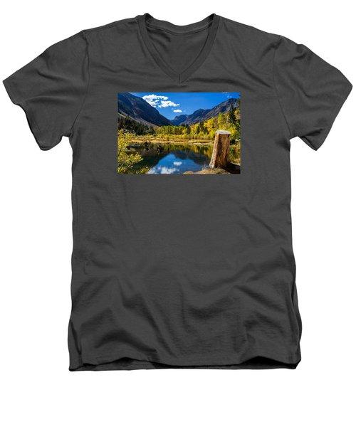 Beaver Pond Men's V-Neck T-Shirt by Tassanee Angiolillo