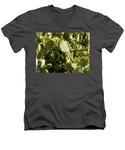 Beaver Tail Cactus, Cave Creek, Arizona Men's V-Neck T-Shirt by Patricia E Sundik