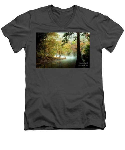 Beavers Bend Creek In Fall Men's V-Neck T-Shirt