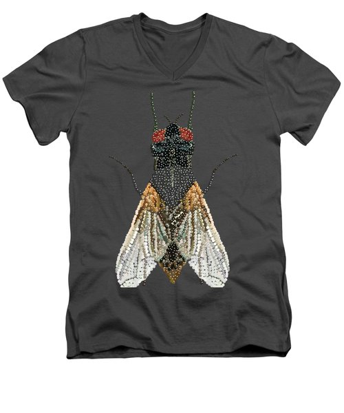 Men's V-Neck T-Shirt featuring the digital art Bedazzled Housefly Transparent Background by R  Allen Swezey
