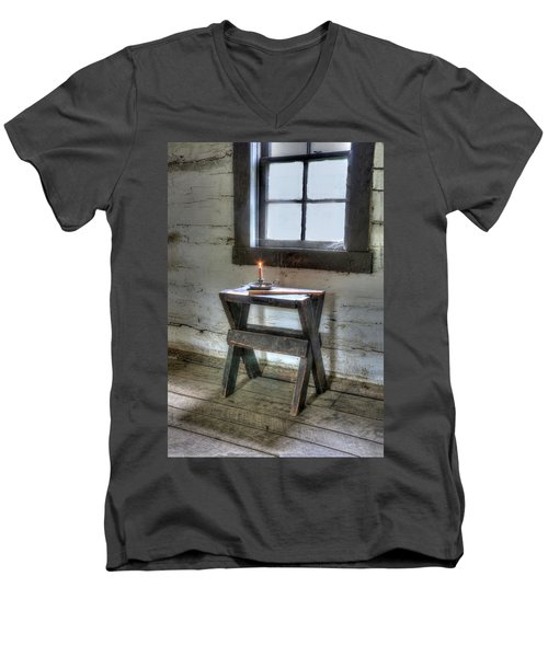 Men's V-Neck T-Shirt featuring the digital art Bedford Village 2 by Sharon Batdorf