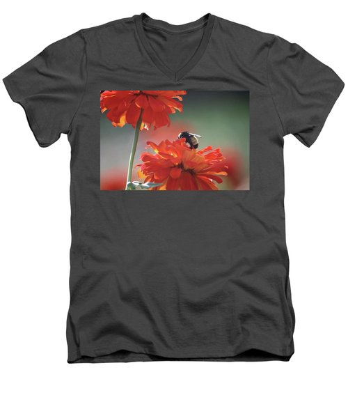 Men's V-Neck T-Shirt featuring the photograph Bee And Flower I by Donna G Smith