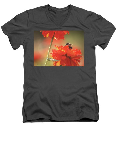 Men's V-Neck T-Shirt featuring the photograph Bee And Flower II by Donna G Smith