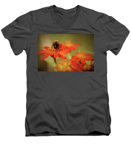 Men's V-Neck T-Shirt featuring the photograph Bee And Flower IIi by Donna G Smith