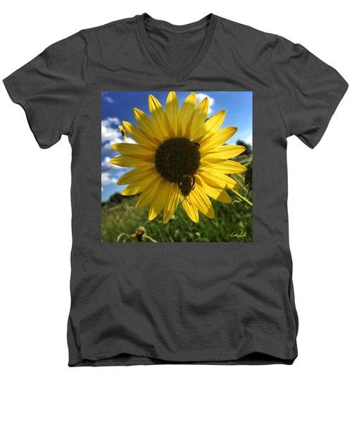Bee And Sunflower Men's V-Neck T-Shirt