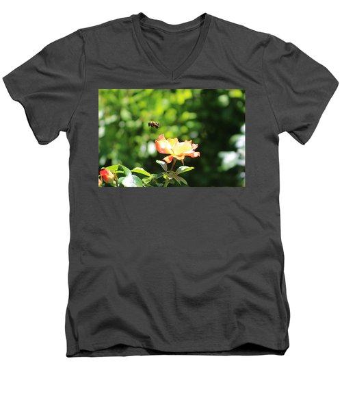 Bee Flying From Peach Petal Rose Men's V-Neck T-Shirt