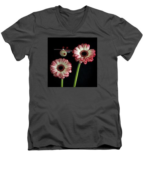 Men's V-Neck T-Shirt featuring the photograph Bee Happy by Shirley Mitchell