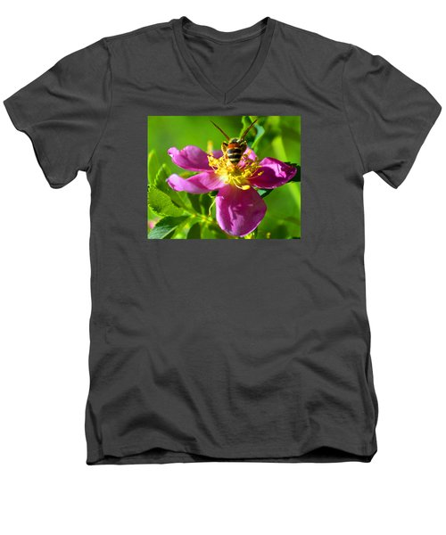 Bee Here Now Men's V-Neck T-Shirt by Susanne Still