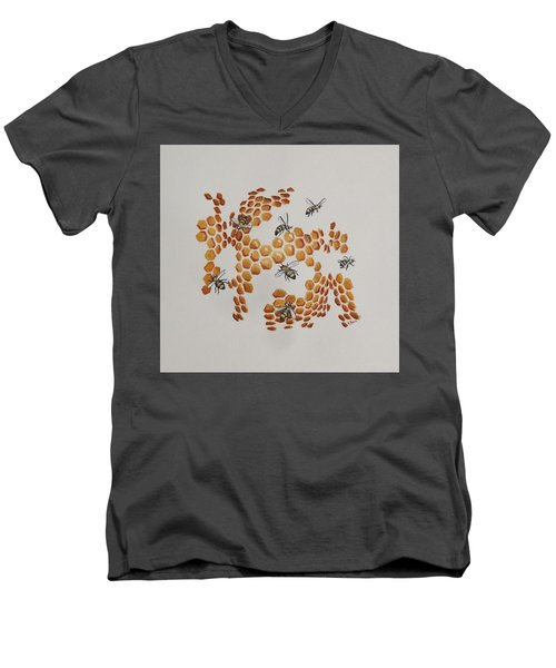 Men's V-Neck T-Shirt featuring the painting Bee Hive # 2 by Katherine Young-Beck