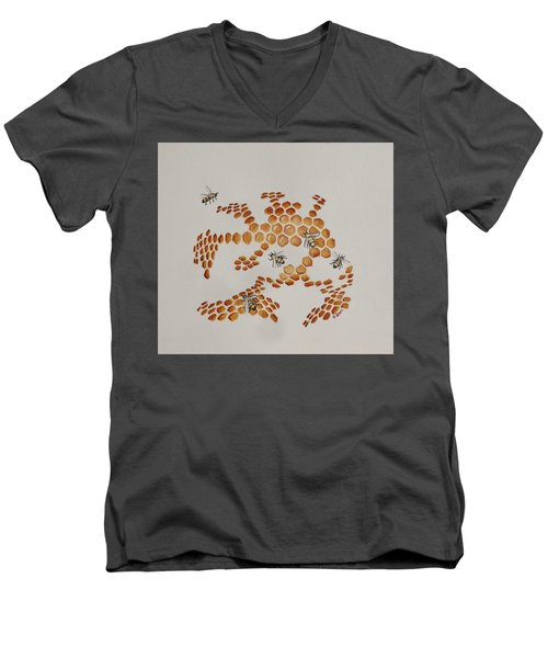 Men's V-Neck T-Shirt featuring the painting Bee Hive # 4 by Katherine Young-Beck