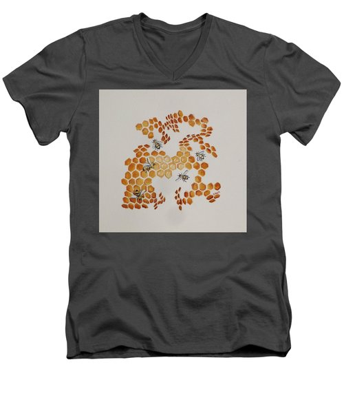 Men's V-Neck T-Shirt featuring the painting Bee Hive # 5 by Katherine Young-Beck