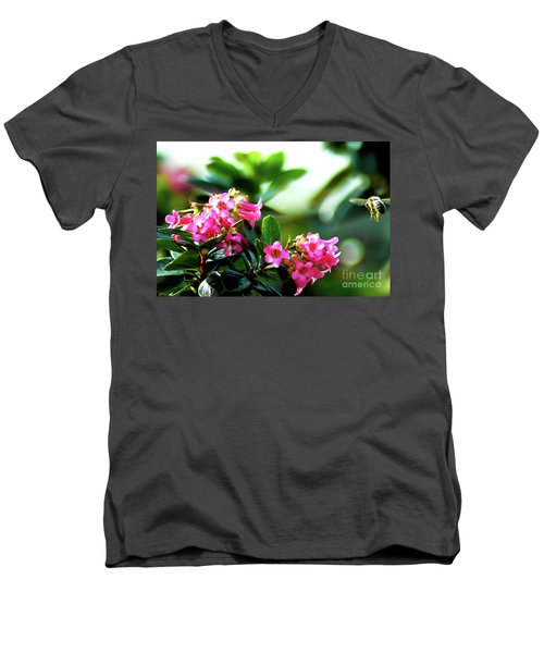 Men's V-Neck T-Shirt featuring the photograph Bee In Flight by Micah May