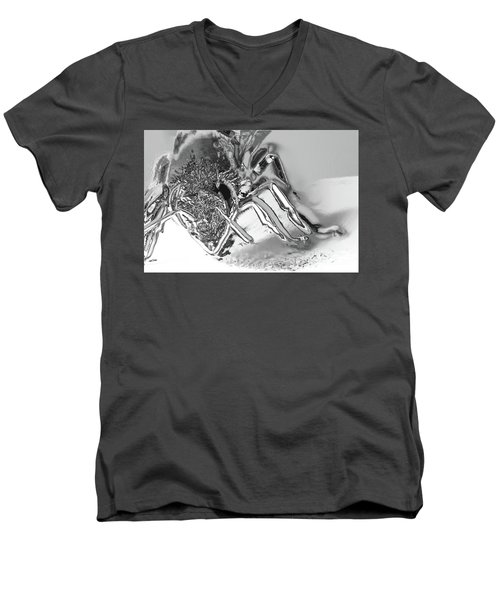 Men's V-Neck T-Shirt featuring the photograph Bee In Macro Chrome by Micah May