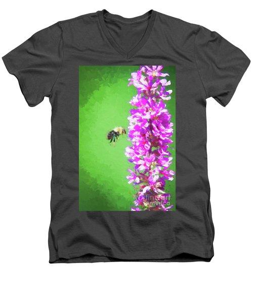 Bee Kissing A Flower Men's V-Neck T-Shirt