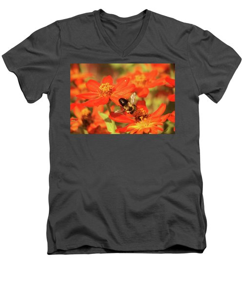 Men's V-Neck T-Shirt featuring the photograph Bee On Flower by Donna G Smith