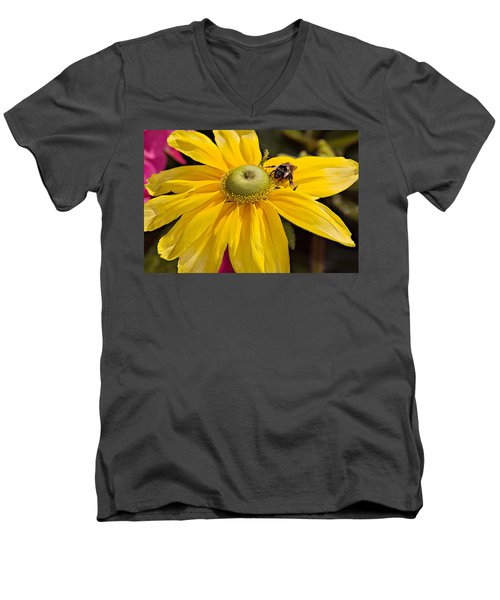 Men's V-Neck T-Shirt featuring the photograph Bee On Yellow Cosmo by Peter J Sucy