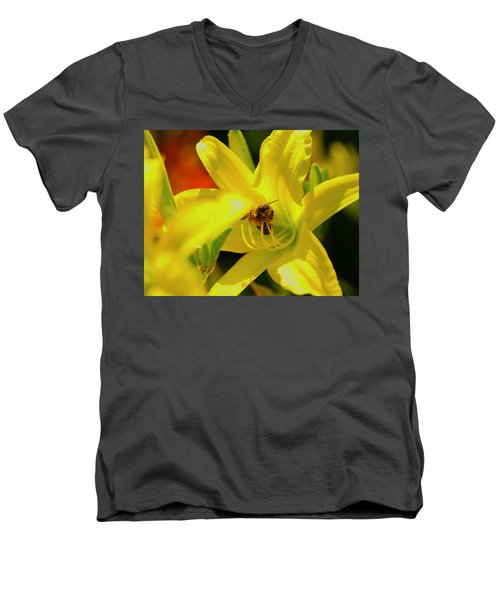 Bee On Yellow Lilly Men's V-Neck T-Shirt