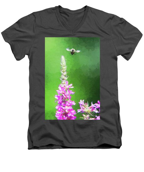 Bee Over Flowers Men's V-Neck T-Shirt