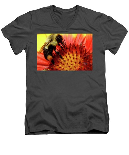Men's V-Neck T-Shirt featuring the photograph Bee Red Flower by Meta Gatschenberger