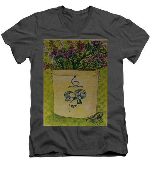 Men's V-Neck T-Shirt featuring the painting Bee Sting Crock With Good Luck Bow Heather And Thistles by Kathy Marrs Chandler
