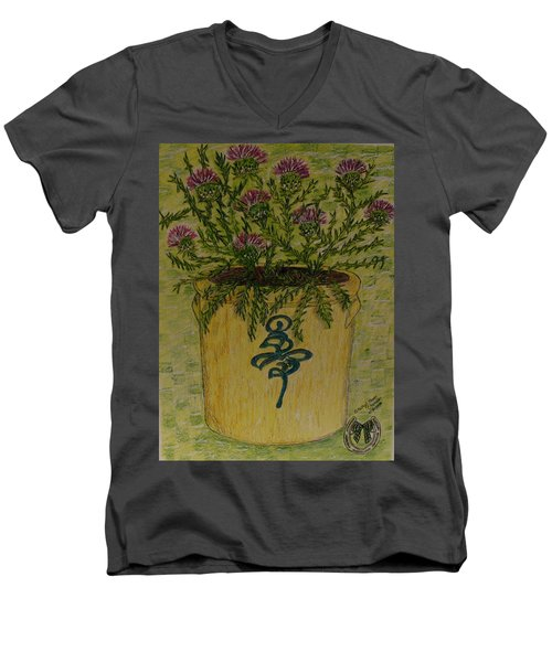 Men's V-Neck T-Shirt featuring the painting Bee Sting Crock With Good Luck Horseshoe by Kathy Marrs Chandler