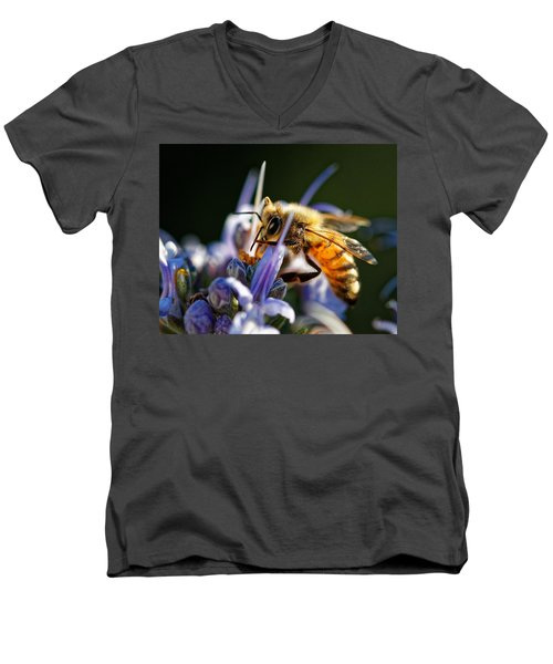Bee Visits Rosemary  Men's V-Neck T-Shirt