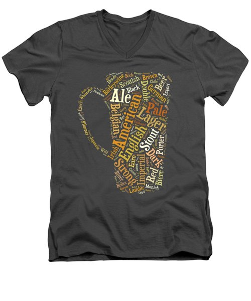 Beer Lovers Tee Men's V-Neck T-Shirt by Edward Fielding