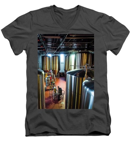 Men's V-Neck T-Shirt featuring the photograph Beer Vats by Linda Unger