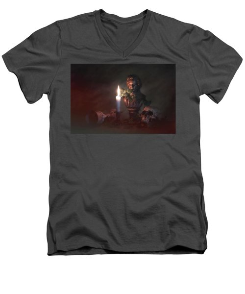 Men's V-Neck T-Shirt featuring the photograph Beethoven By Candlelight by Tom Mc Nemar