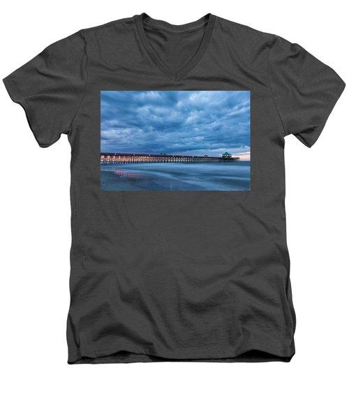 Before Sunrise At Folly Beach Pier, South Carolina Men's V-Neck T-Shirt